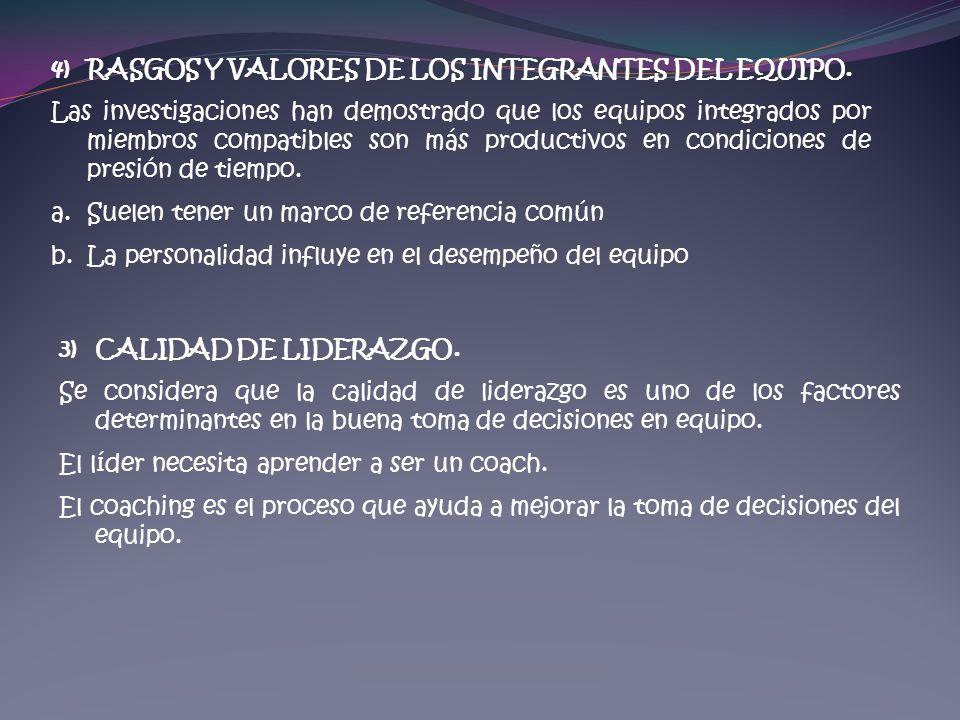 4)RASGOS Y VALORES DE LOS INTEGRANTES DEL EQUIPO. Las investigaciones han demostrado que los equipos integrados por miembros compatibles son más produ