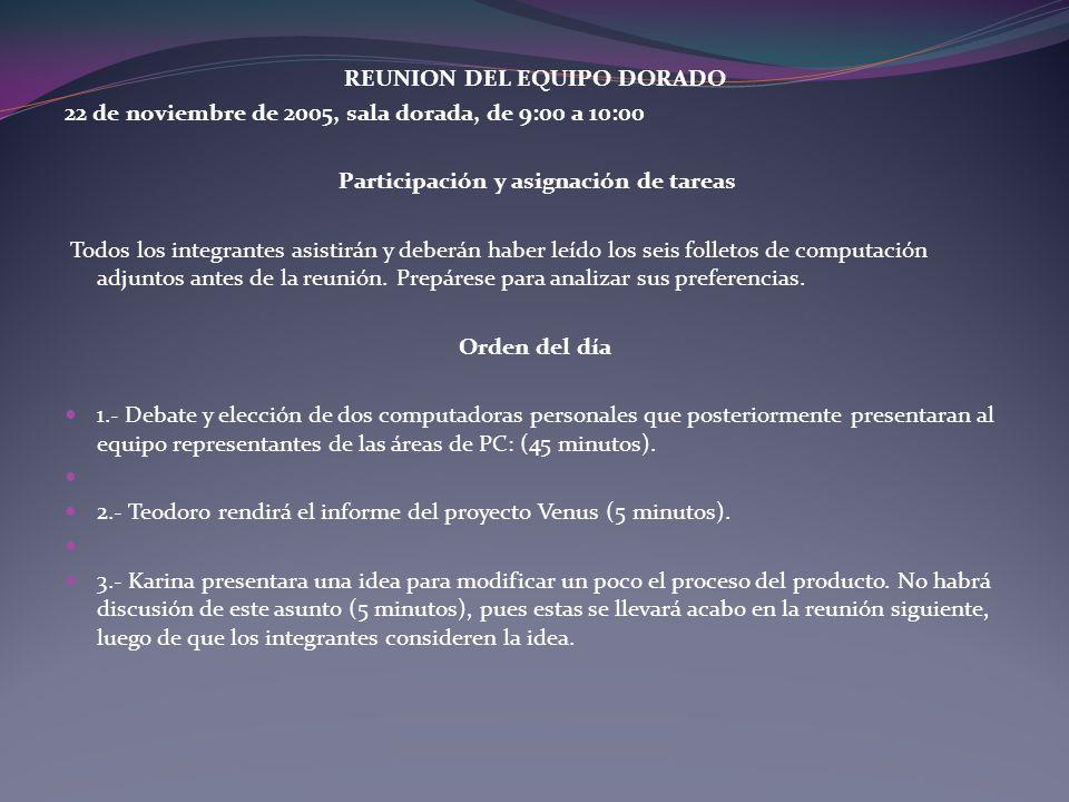 REUNION DEL EQUIPO DORADO 22 de noviembre de 2005, sala dorada, de 9:00 a 10:00 Participación y asignación de tareas Todos los integrantes asistirán y