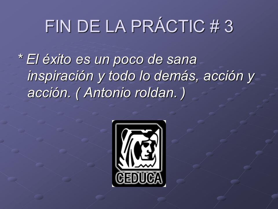 FIN DE LA PRÁCTIC # 3 * El éxito es un poco de sana inspiración y todo lo demás, acción y acción.