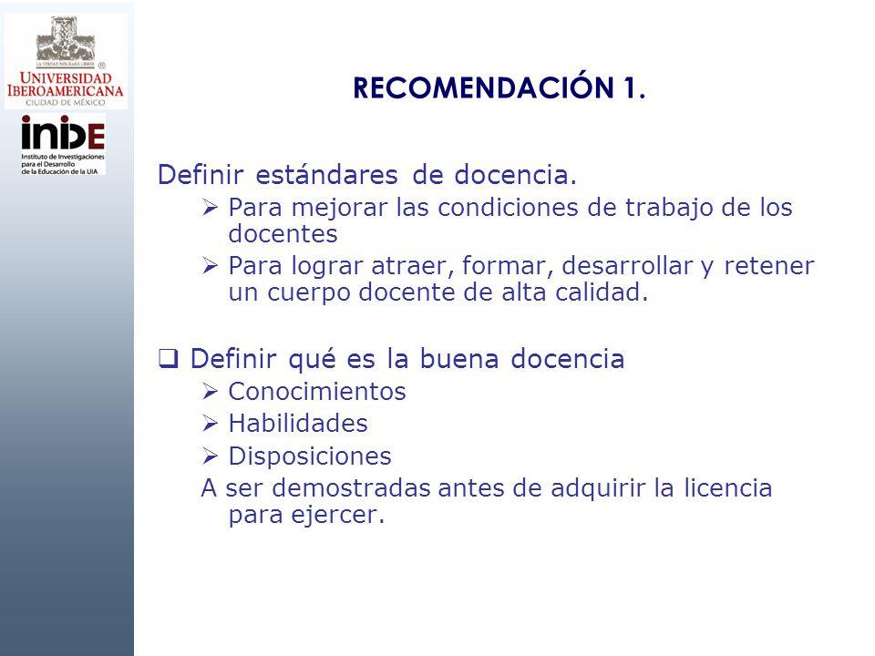 RECOMENDACIÓN 1. Definir estándares de docencia.