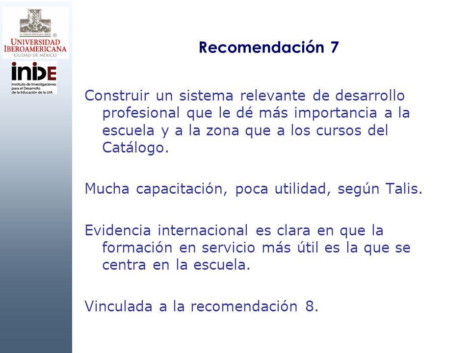 Recomendación 7 Construir un sistema relevante de desarrollo profesional que le dé más importancia a la escuela y a la zona que a los cursos del Catálogo.