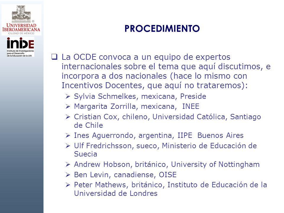 PROCEDIMIENTO La OCDE convoca a un equipo de expertos internacionales sobre el tema que aquí discutimos, e incorpora a dos nacionales (hace lo mismo c