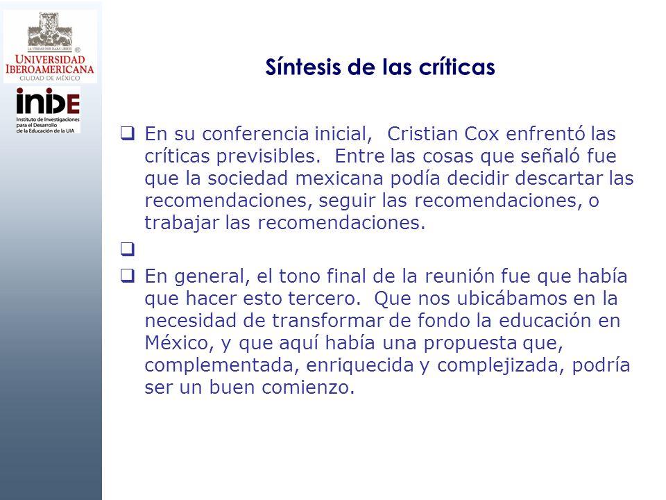 Síntesis de las críticas En su conferencia inicial, Cristian Cox enfrentó las críticas previsibles. Entre las cosas que señaló fue que la sociedad mex