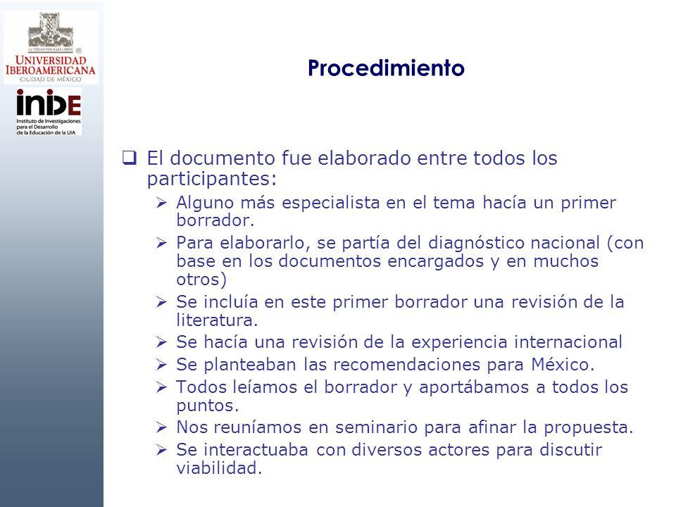 Procedimiento El documento fue elaborado entre todos los participantes: Alguno más especialista en el tema hacía un primer borrador.