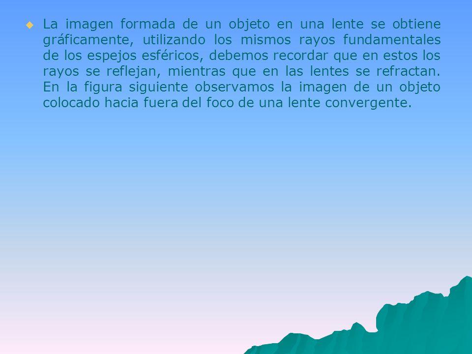 La imagen formada de un objeto en una lente se obtiene gráficamente, utilizando los mismos rayos fundamentales de los espejos esféricos, debemos recordar que en estos los rayos se reflejan, mientras que en las lentes se refractan.