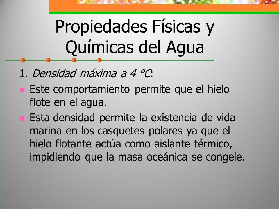 Propiedades Físicas y Químicas del Agua 1. Densidad máxima a 4 °C: Este comportamiento permite que el hielo flote en el agua. Esta densidad permite la