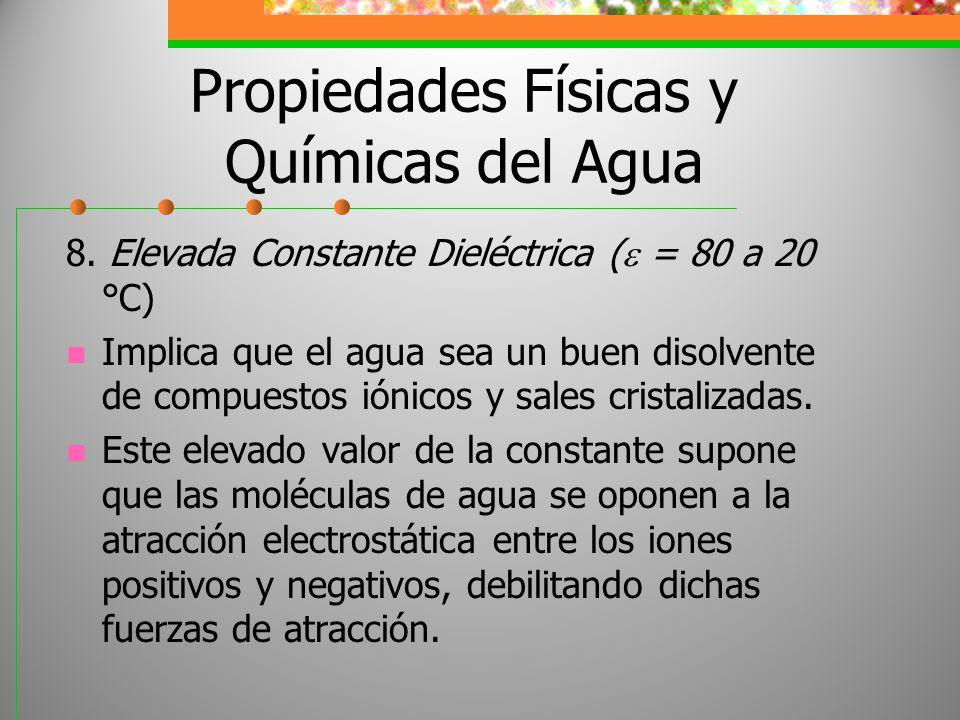 Propiedades Físicas y Químicas del Agua 8. Elevada Constante Dieléctrica ( = 80 a 20 °C) Implica que el agua sea un buen disolvente de compuestos ióni