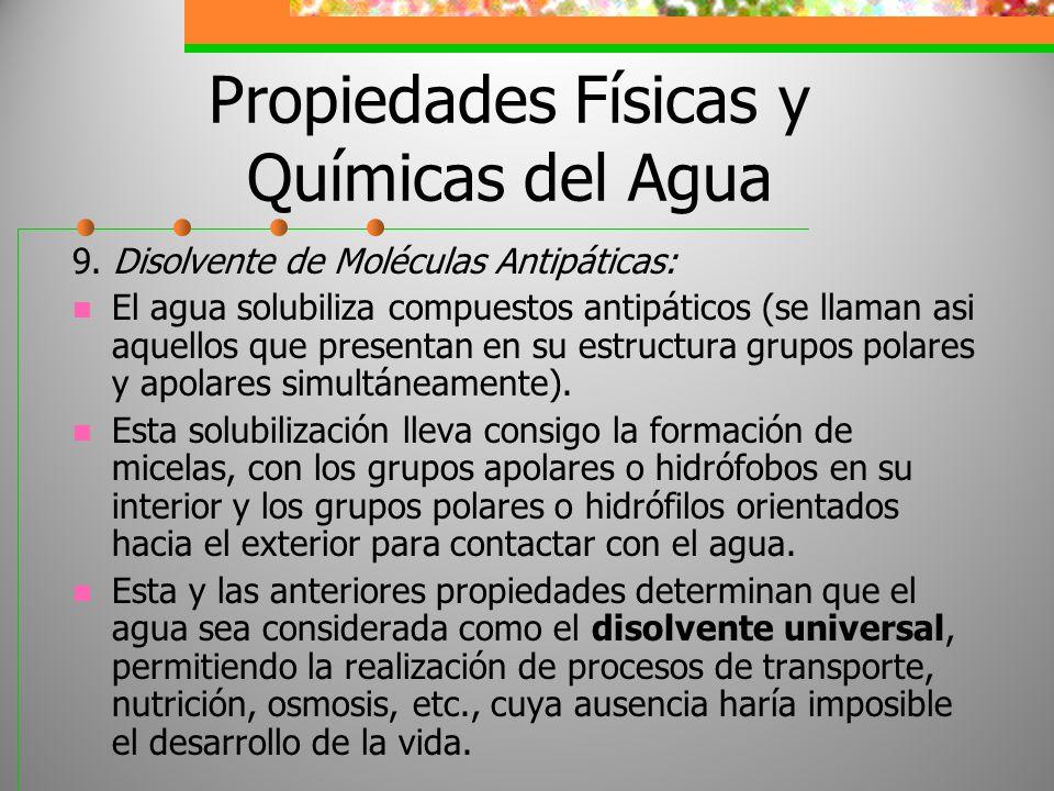 Propiedades Físicas y Químicas del Agua 9. Disolvente de Moléculas Antipáticas: El agua solubiliza compuestos antipáticos (se llaman asi aquellos que