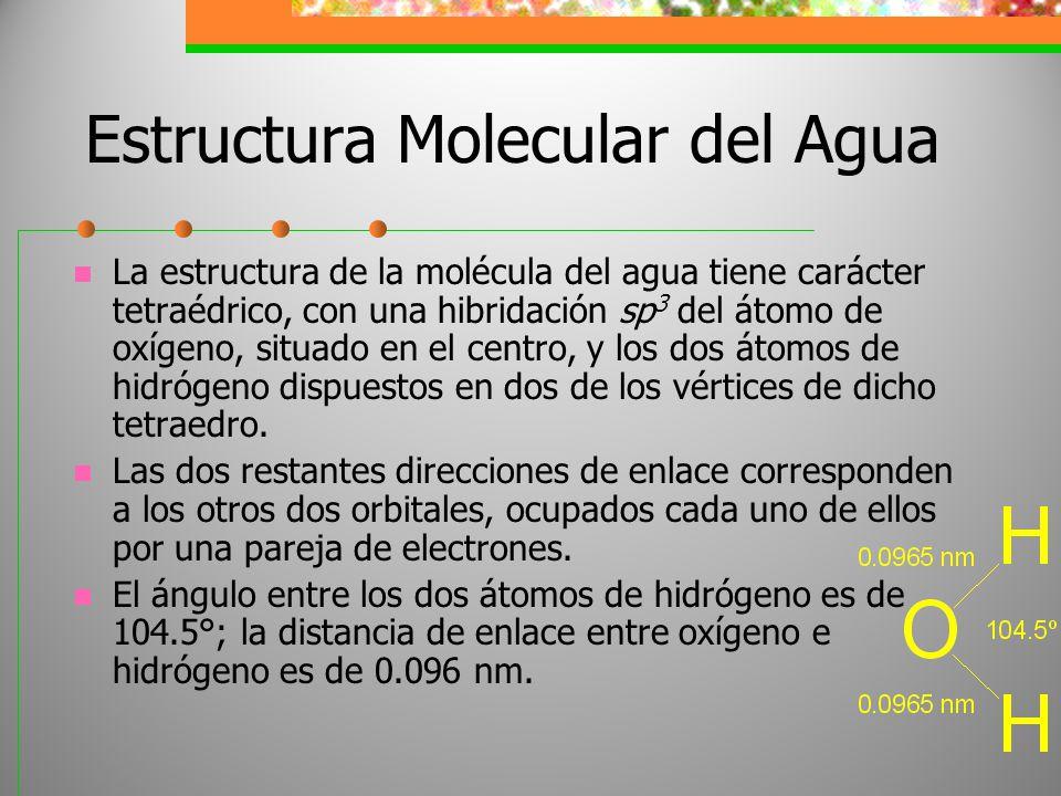 Estructura Molecular del Agua La estructura de la molécula del agua tiene carácter tetraédrico, con una hibridación sp 3 del átomo de oxígeno, situado