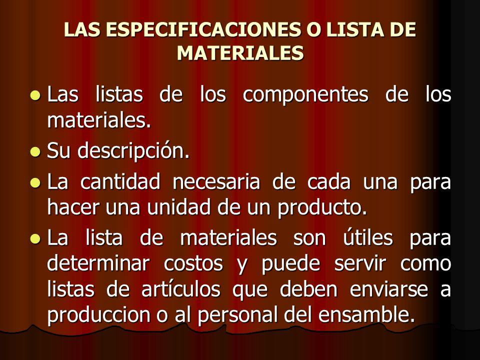 LAS ESPECIFICACIONES O LISTA DE MATERIALES Las listas de los componentes de los materiales.