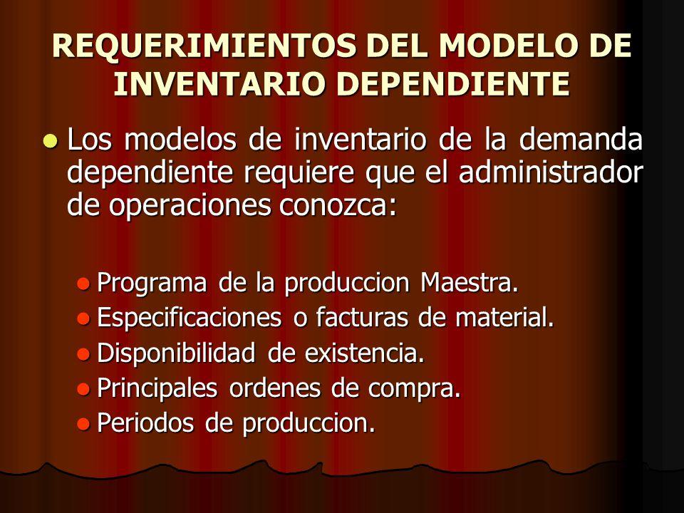 REQUERIMIENTOS DEL MODELO DE INVENTARIO DEPENDIENTE Los modelos de inventario de la demanda dependiente requiere que el administrador de operaciones c