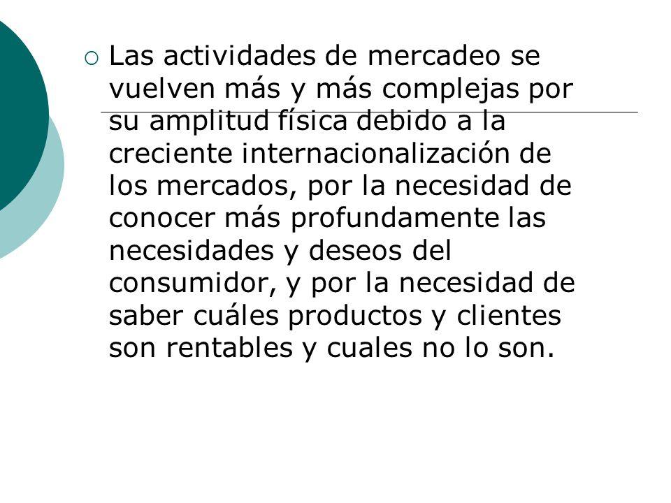 Las actividades de mercadeo se vuelven más y más complejas por su amplitud física debido a la creciente internacionalización de los mercados, por la n