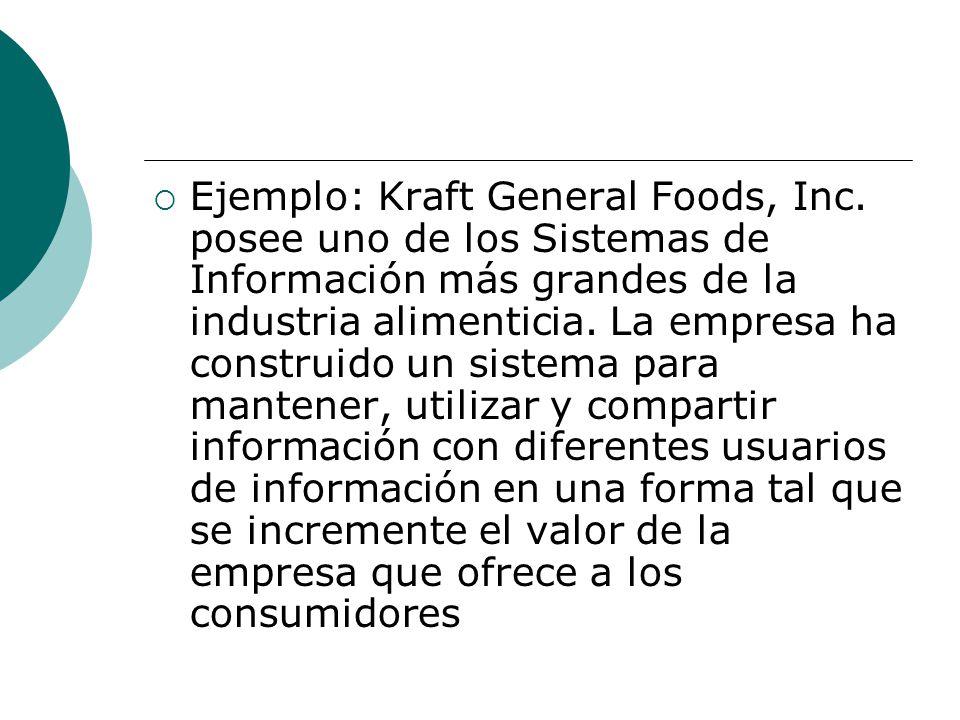 Ejemplo: Kraft General Foods, Inc. posee uno de los Sistemas de Información más grandes de la industria alimenticia. La empresa ha construido un siste