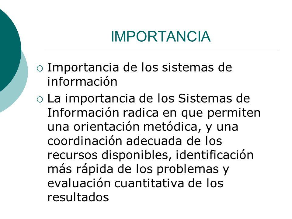 IMPORTANCIA Importancia de los sistemas de información La importancia de los Sistemas de Información radica en que permiten una orientación metódica,