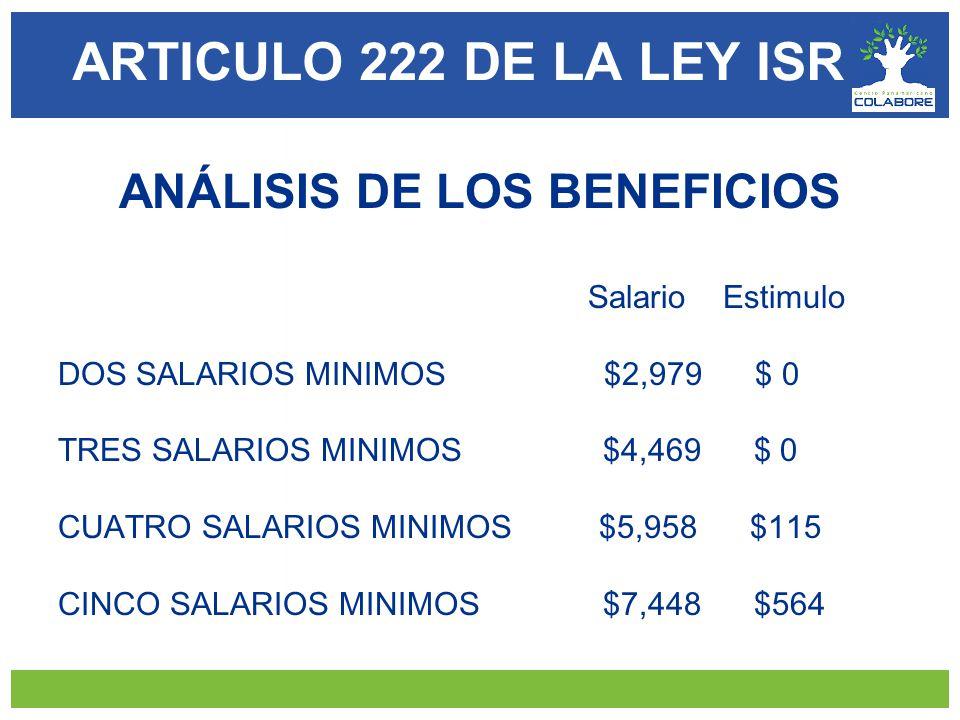 ARTICULO 222 DE LA LEY ISR ANÁLISIS DE LOS BENEFICIOS Salario Estimulo DOS SALARIOS MINIMOS $2,979 $ 0 TRES SALARIOS MINIMOS $4,469 $ 0 CUATRO SALARIOS MINIMOS $5,958 $115 CINCO SALARIOS MINIMOS $7,448 $564