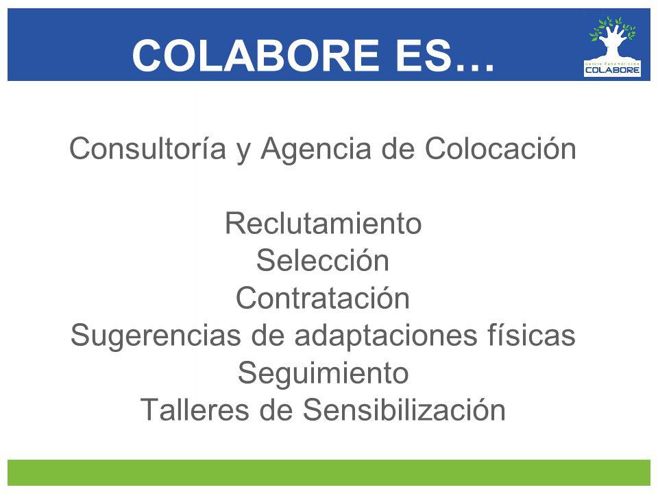 Consultoría y Agencia de Colocación Reclutamiento Selección Contratación Sugerencias de adaptaciones físicas Seguimiento Talleres de Sensibilización COLABORE ES…