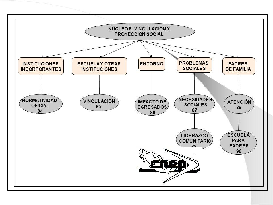 NÚCLEO 8: VINCULACIÓN Y PROYECCIÓN SOCIAL ESCUELA Y OTRAS INSTITUCIONES PADRES DE FAMILIA INSTITUCIONES INCORPORANTES ENTORNO PROBLEMAS SOCIALES NORMA