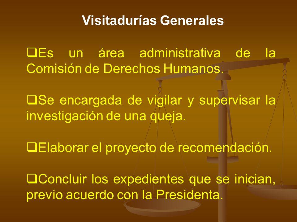Visitadurías Generales Es un área administrativa de la Comisión de Derechos Humanos. Se encargada de vigilar y supervisar la investigación de una quej