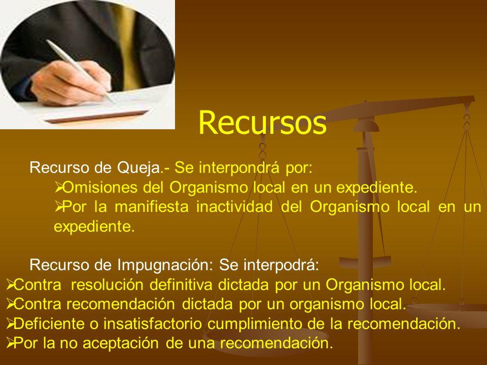 Recurso de Queja.- Se interpondrá por: Omisiones del Organismo local en un expediente. Por la manifiesta inactividad del Organismo local en un expedie