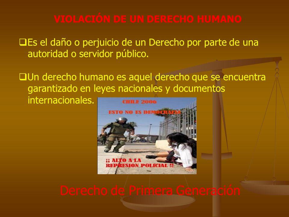 VIOLACIÓN DE UN DERECHO HUMANO Es el daño o perjuicio de un Derecho por parte de una autoridad o servidor público. Un derecho humano es aquel derecho