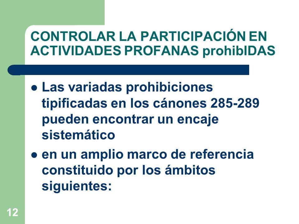 12 CONTROLAR LA PARTICIPACIÓN EN ACTIVIDADES PROFANAS prohibIDAS Las variadas prohibiciones tipificadas en los cánones 285-289 pueden encontrar un encaje sistemático en un amplio marco de referencia constituido por los ámbitos siguientes: