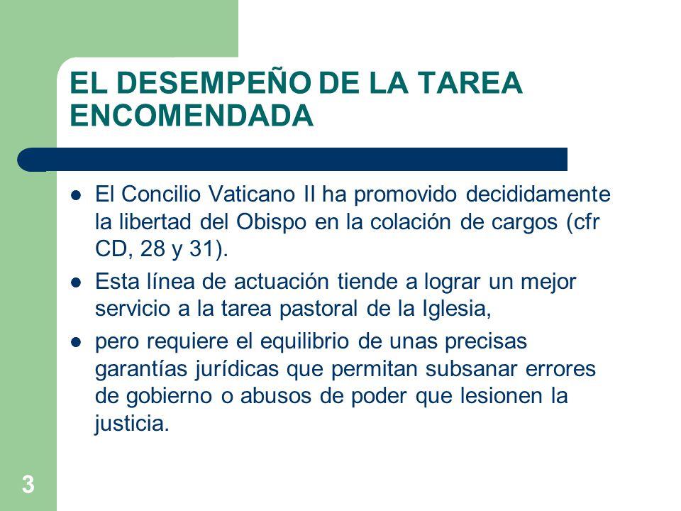 3 EL DESEMPEÑO DE LA TAREA ENCOMENDADA El Concilio Vaticano II ha promovido decididamente la libertad del Obispo en la colación de cargos (cfr CD, 28 y 31).