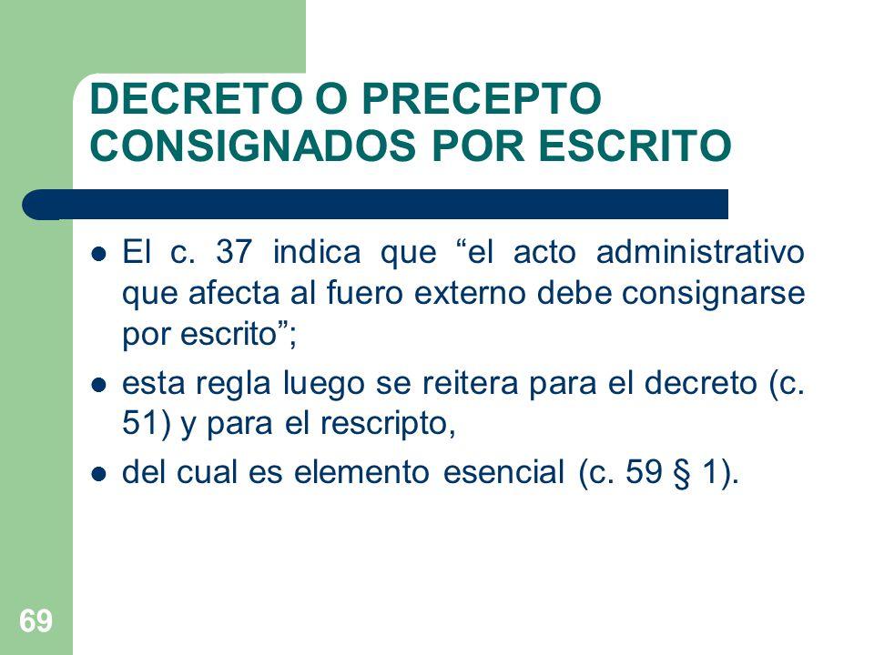 DECRETO O PRECEPTO CONSIGNADOS POR ESCRITO El c.