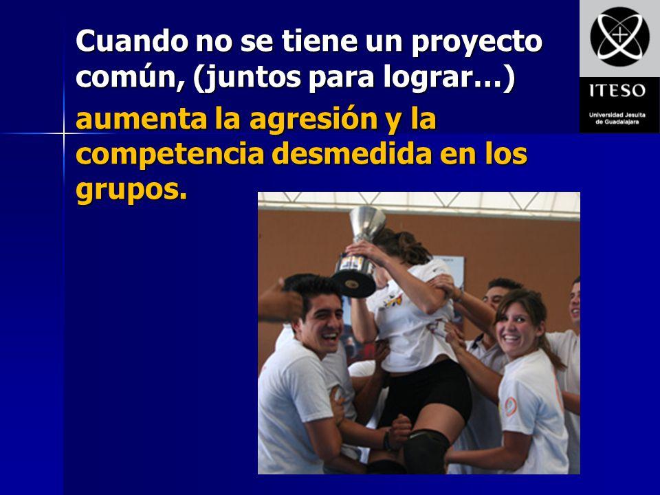Cuando no se tiene un proyecto común, (juntos para lograr…) aumenta la agresión y la competencia desmedida en los grupos.