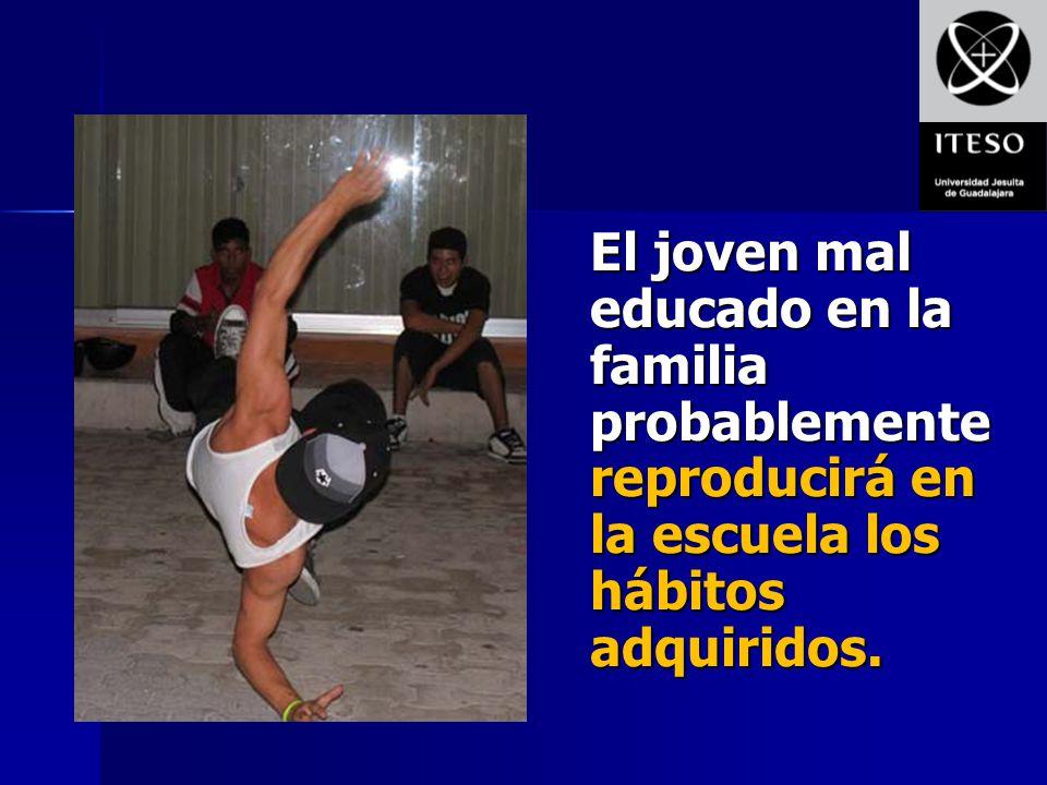 El joven mal educado en la familia probablemente reproducirá en la escuela los hábitos adquiridos.