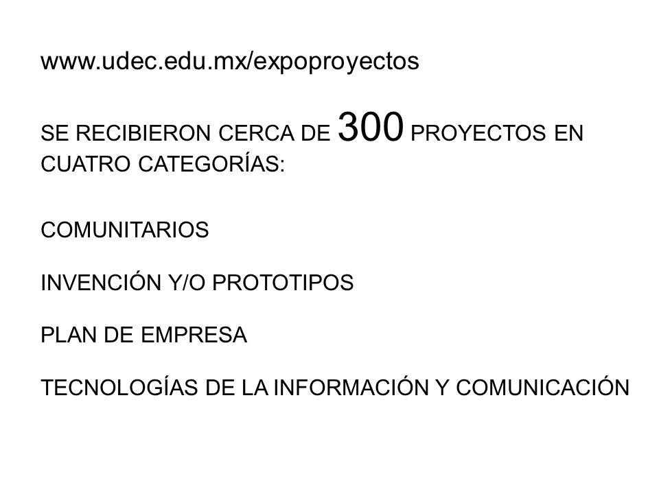 www.udec.edu.mx/expoproyectos SE RECIBIERON CERCA DE 300 PROYECTOS EN CUATRO CATEGORÍAS: COMUNITARIOS INVENCIÓN Y/O PROTOTIPOS PLAN DE EMPRESA TECNOLOGÍAS DE LA INFORMACIÓN Y COMUNICACIÓN