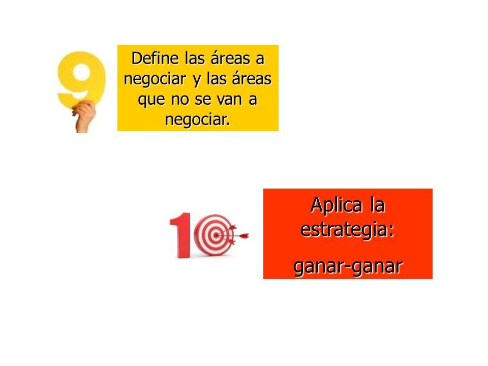 Define las áreas a negociar y las áreas que no se van a negociar. Aplica la estrategia: ganar-ganar