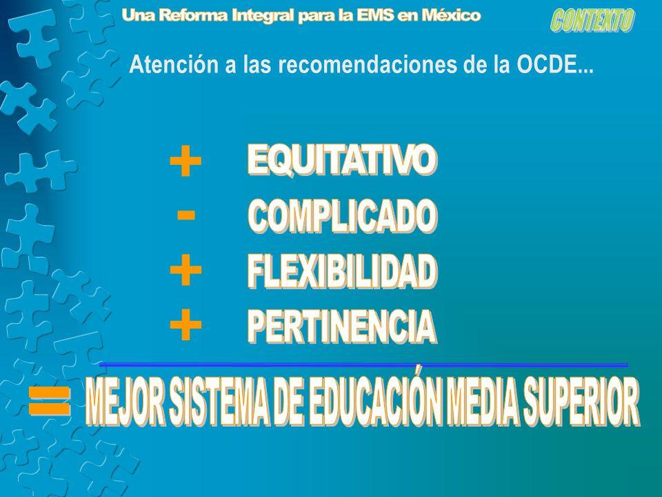 Atención a las recomendaciones de la OCDE... + - + +