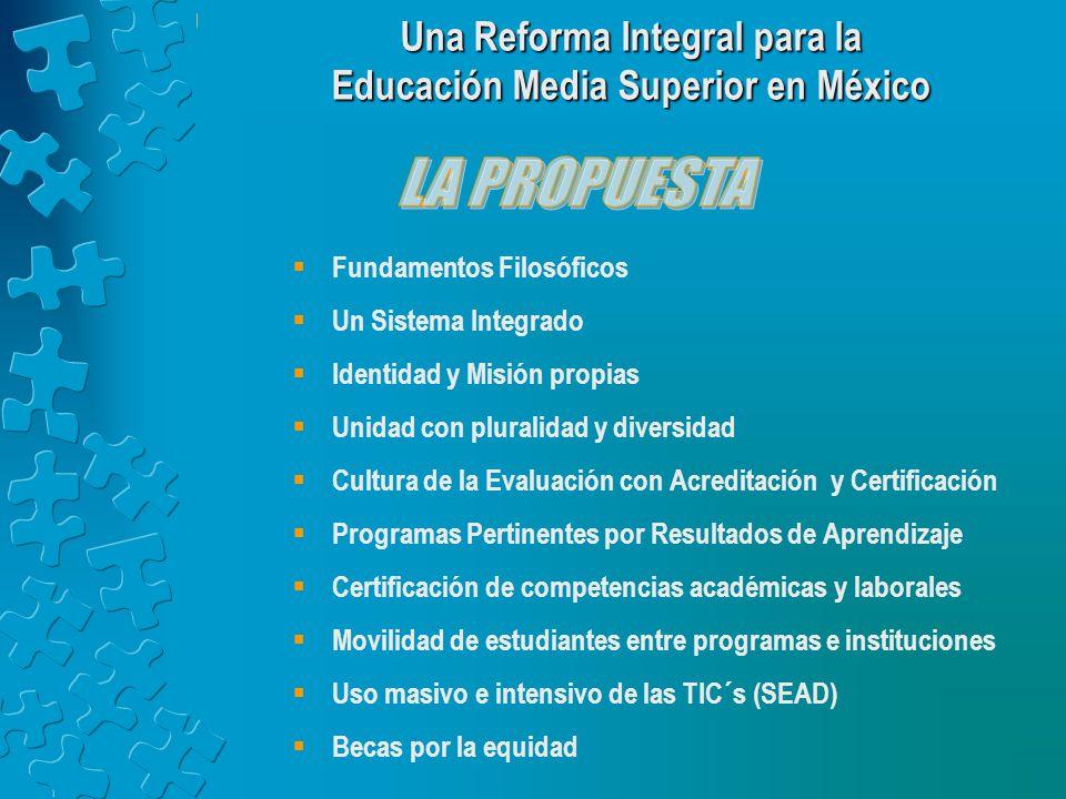 Fundamentos Filosóficos Un Sistema Integrado Identidad y Misión propias Unidad con pluralidad y diversidad Cultura de la Evaluación con Acreditación y Certificación Programas Pertinentes por Resultados de Aprendizaje Certificación de competencias académicas y laborales Movilidad de estudiantes entre programas e instituciones Uso masivo e intensivo de las TIC´s (SEAD) Becas por la equidad Una Reforma Integral para la Educación Media Superior en México