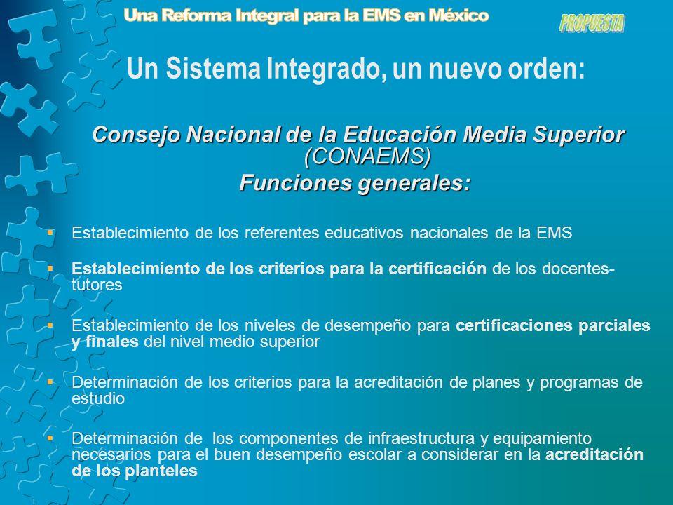 Consejo Nacional de la Educación Media Superior (CONAEMS) Funciones generales: Establecimiento de los referentes educativos nacionales de la EMS Establecimiento de los criterios para la certificación de los docentes- tutores Establecimiento de los niveles de desempeño para certificaciones parciales y finales del nivel medio superior Determinación de los criterios para la acreditación de planes y programas de estudio Determinación de los componentes de infraestructura y equipamiento necesarios para el buen desempeño escolar a considerar en la acreditación de los planteles Un Sistema Integrado, un nuevo orden: