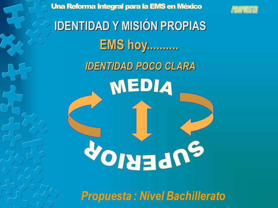EMS hoy.......... IDENTIDAD POCO CLARA Propuesta : Nivel Bachillerato IDENTIDAD Y MISIÓN PROPIAS