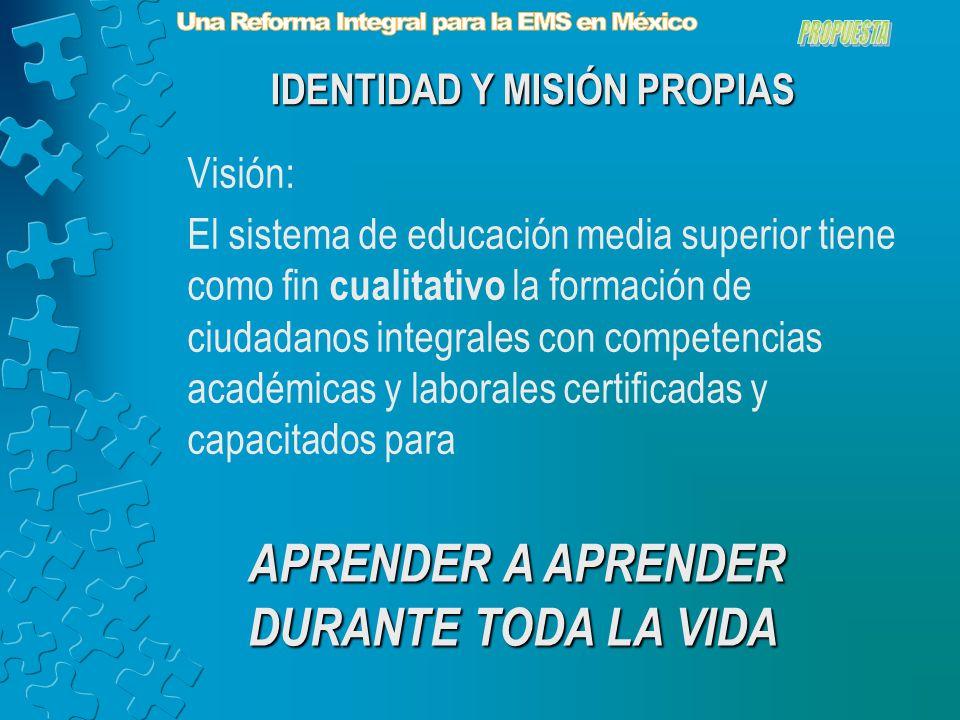 Visión: El sistema de educación media superior tiene como fin cualitativo la formación de ciudadanos integrales con competencias académicas y laborales certificadas y capacitados para IDENTIDAD Y MISIÓN PROPIAS APRENDER A APRENDER DURANTE TODA LA VIDA