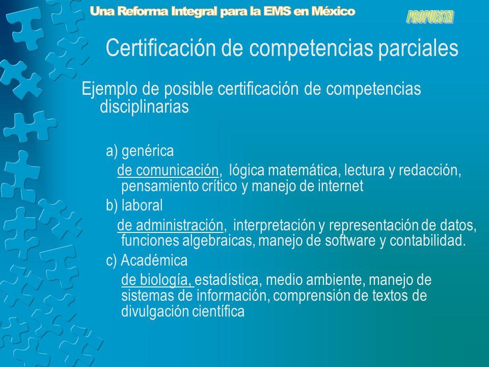 Ejemplo de posible certificación de competencias disciplinarias a) genérica de comunicación, lógica matemática, lectura y redacción, pensamiento crítico y manejo de internet b) laboral de administración, interpretación y representación de datos, funciones algebraicas, manejo de software y contabilidad.