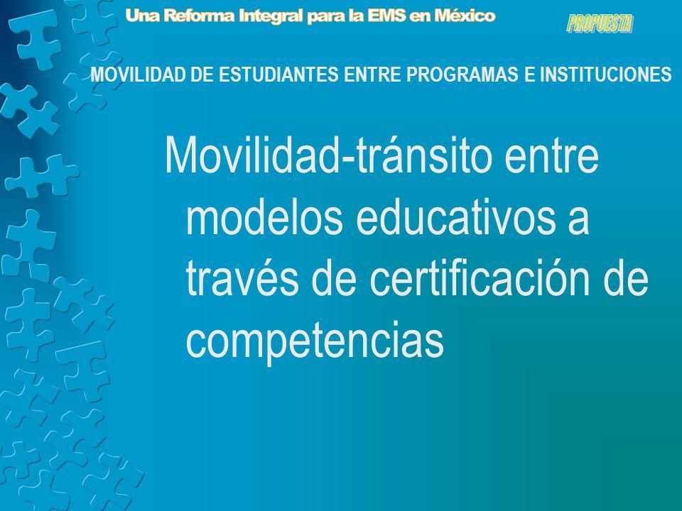 Movilidad-tránsito entre modelos educativos a través de certificación de competencias MOVILIDAD DE ESTUDIANTES ENTRE PROGRAMAS E INSTITUCIONES