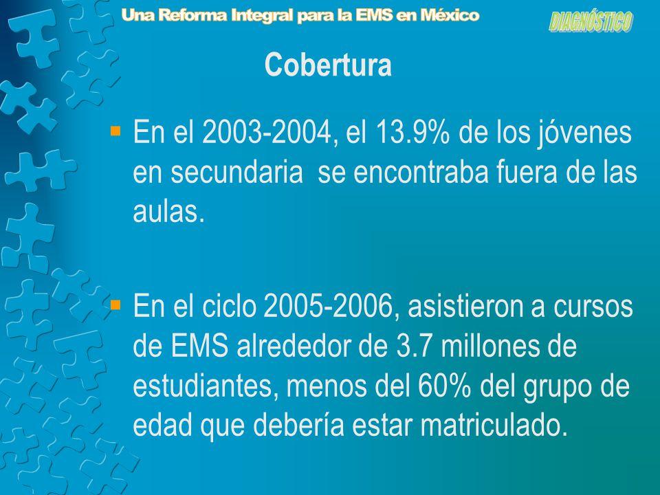 En el 2003-2004, el 13.9% de los jóvenes en secundaria se encontraba fuera de las aulas.