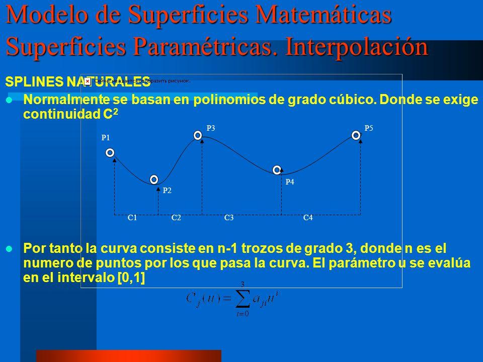 SPLINES NATURALES Normalmente se basan en polinomios de grado cúbico. Donde se exige continuidad C 2 Por tanto la curva consiste en n-1 trozos de grad