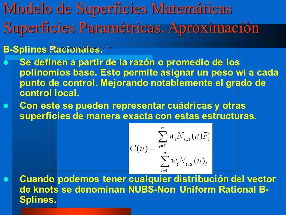 B-Splines Racionales. Se definen a partir de la razón o promedio de los polinomios base. Esto permite asignar un peso wi a cada punto de control. Mejo