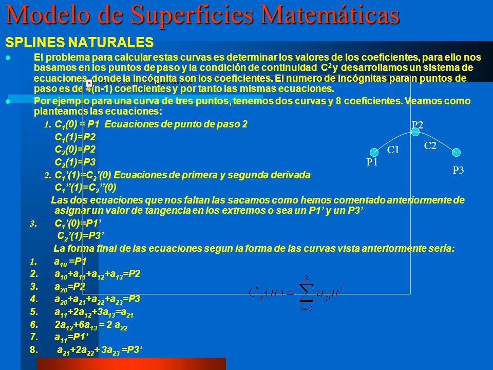 SPLINES NATURALES El problema para calcular estas curvas es determinar los valores de los coeficientes, para ello nos basamos en los puntos de paso y la condición de continuidad C 2 y desarrollamos un sistema de ecuaciones, donde la incógnita son los coeficientes.