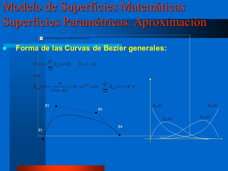 Forma de las Curvas de Bezier generales: Modelo de Superficies Matemáticas Superficies Paramétricas. Aproximación P1 P2 P3 P4