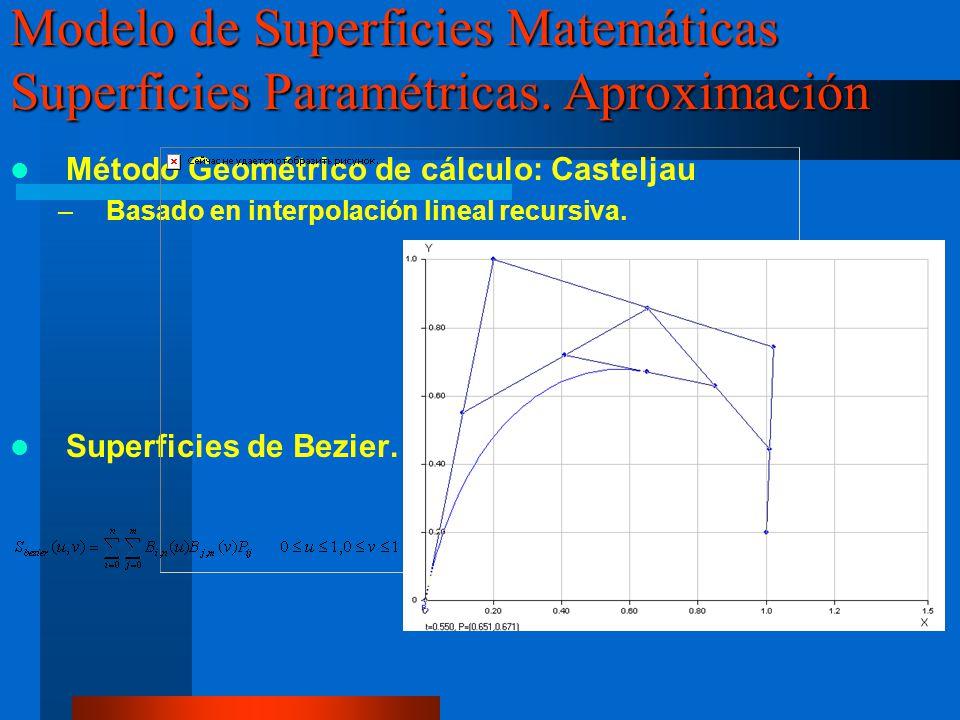 Curvas y Superficies de Bezier en OpenGL void dibujar_curvas_bezier() { int i,j; /** Definicion del Mapeo */ glMap1f(GL_MAP1_VERTEX_3,0.0,1.0,3,n_pc_c_bezier,&pc_c_bezier[i]); /*Habilitacion del mapeo a vertices 3D */ glEnable(GL_MAP1_VERTEX_3); /* Especificación del numero de evaluaciones del mapeo (100 en los valores 0 y 1 del parámetro*/ glMapGrid1d(100,0,1.0); /*Dibujado de los puntos de la curva de bezier */ glEvalMesh1(GL_LINE,0,100); /*Tambien se podria hacer asi glBegin(GL_LINE_STRIP); for(j=0;j<100;j++) glEvalCoord1f(j/100.0); glEnd(); */ /* Dibujado de la polilinea de control*/ glBegin(GL_LINE_STRIP); for(j=0;j<n_pc_c_bezier;j++) glVertex3fv(pc_c_bezier[j]); glEnd(); /* Dibujado de los puntos de control */ glPointSize(5.0); glBegin(GL_POINTS); for(j=0;j<n_pc_c_bezier;j++) glVertex3fv(pc_c_bezier[j]); glEnd(); } Modelo de Superficies Matemáticas Superficies Paramétricas.