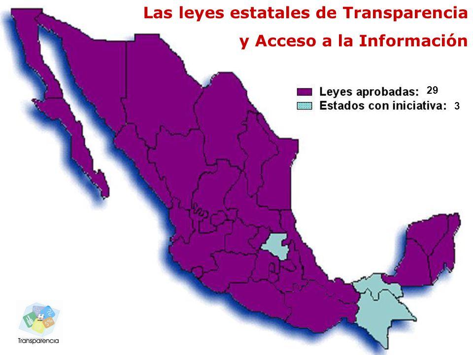 Comisión Interinstitucional de Transparencia y Acceso a la Información www.hidalgo.gob.mx Las leyes estatales de Transparencia y Acceso a la Información 29 3
