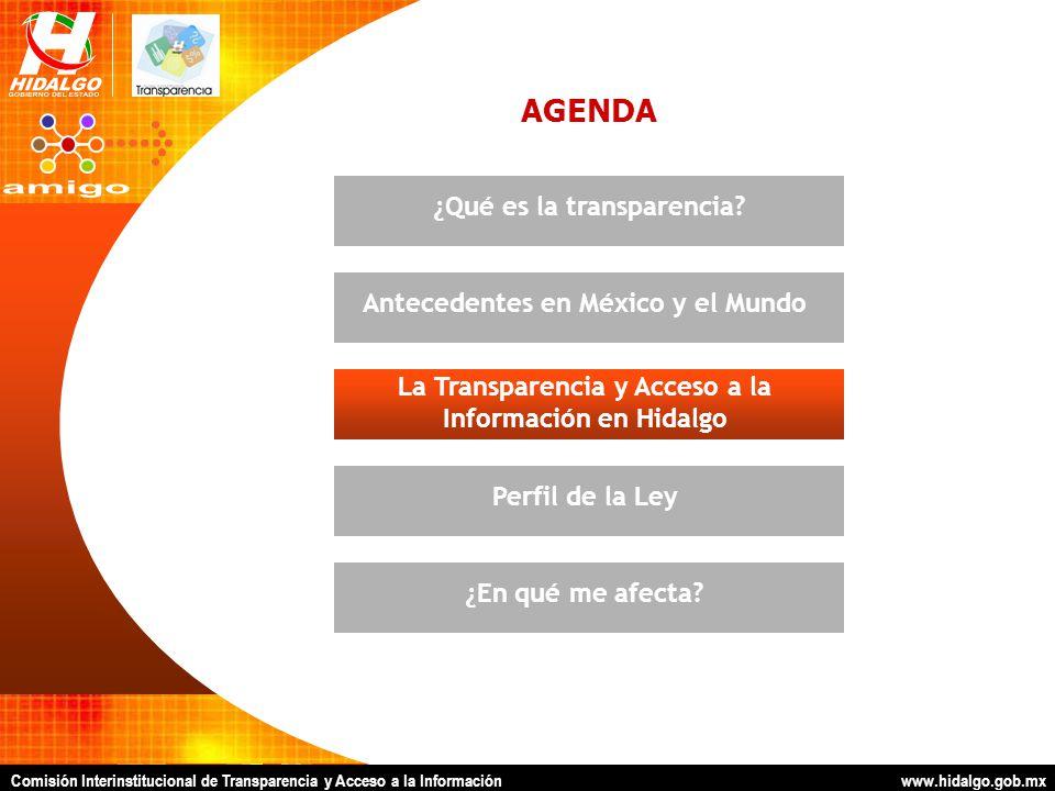 Comisión Interinstitucional de Transparencia y Acceso a la Información www.hidalgo.gob.mx AGENDA La Transparencia y Acceso a la Información en Hidalgo Antecedentes en México y el Mundo¿Qué es la transparencia?Perfil de la Ley¿En qué me afecta?