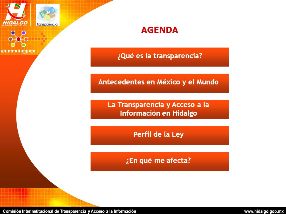 AGENDA La Transparencia y Acceso a la Información en Hidalgo Antecedentes en México y el Mundo¿Qué es la transparencia?Perfil de la Ley¿En qué me afecta?