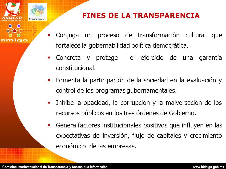 Comisión Interinstitucional de Transparencia y Acceso a la Información www.hidalgo.gob.mx CONSECUENCIAS DE LA TRANSPARENCIA Provocar que el gobierno proporcione, ventile y entregue la información que genera.