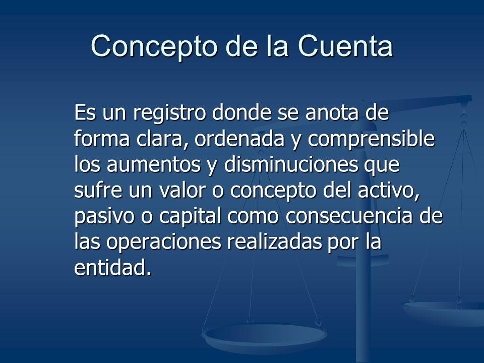 Concepto de la Cuenta Es un registro donde se anota de forma clara, ordenada y comprensible los aumentos y disminuciones que sufre un valor o concepto