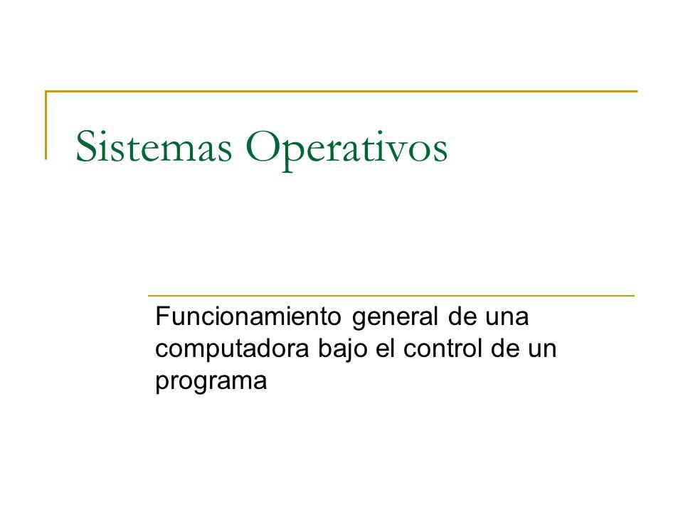 Sistemas Operativos Funcionamiento general de una computadora bajo el control de un programa